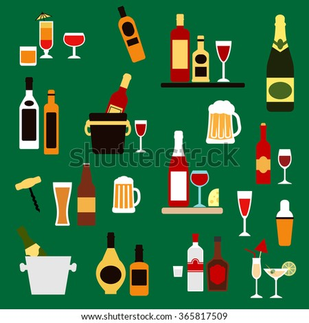Drinks, alcohol and beverages flat icons with wine bottles, champagne, beer, whiskey, vodka, rum, gin and liquor, cocktails, ice buckets, shaker and corkscrew - stock vector