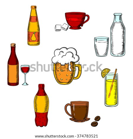 Drinks, alcohol and beverages icons of a wine bottle and glass, beer, coffee, tea, milk bottle and glass, orange juice and a soft drink soda - stock vector