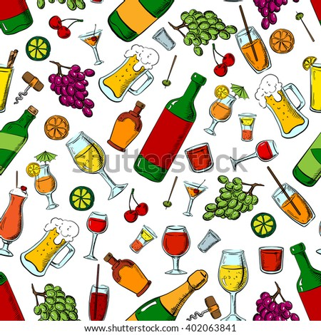 Drinks, alcohol and fruit seamless pattern with wine and beer bottles, cocktails and champagne, whiskey, lemonade and milk shakes among grape bunches and cherries, olives and oranges, limes fruits - stock vector