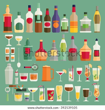 Drinks and beverages icon set. Flat vector illustration. - stock vector