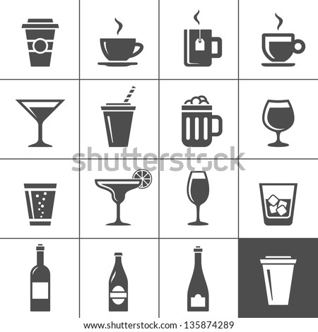 Drinks and beverages icon set. Simplus series - stock vector