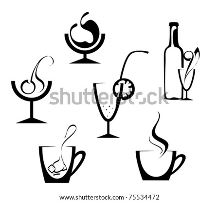 Drinks and beverages icons isolated on white. Jpeg version also available in gallery - stock vector