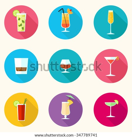 Drinks and Cocktails colorful vector icons set - eps10 - stock vector