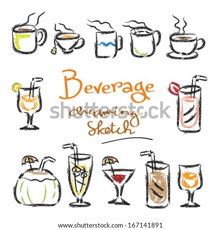 Drinks Beverage Doodle Sketch Colors