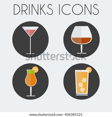 Drinks Cocktail Glasses Round icon Set. Martini Glass, Brandy Glass, Hurricane Cocktail Glass with Orange Slice and Highball Drink with ice Cubes. Digital background vector illustration. - stock vector