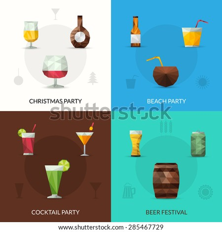 Drinks design concept set with christmas cocktail party beer festival polygonal icons isolated vector illustration - stock vector
