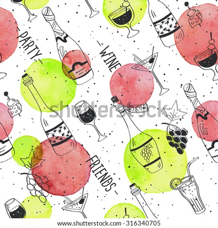 Drinks doodle pattern. Hand drawn beverages seamless background. Doodle snacks and drinks  with watercolor colorful spots. Beverages, glass, bottles, grapes, snacks. Wine, friend, party. - stock vector