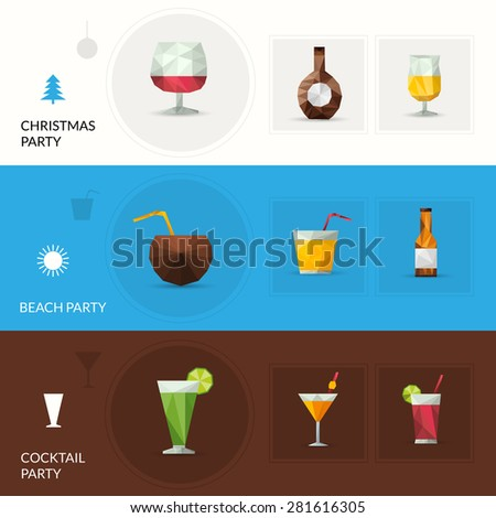 Drinks horizontal banner set with christmas beach cocktail party elements isolated vector illustration - stock vector