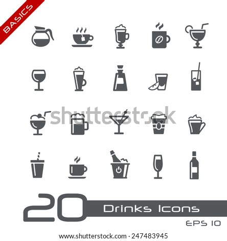 Drinks Icons // Basics - stock vector