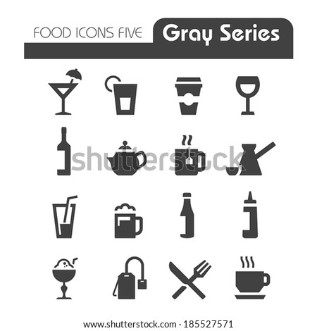 Drinks Icons Gray series - stock vector