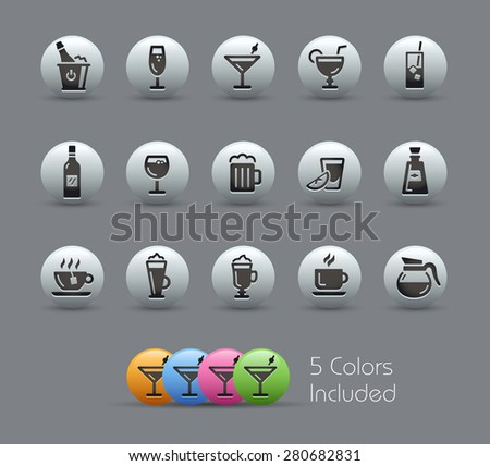 Drinks Icons // Pearly Series - stock vector