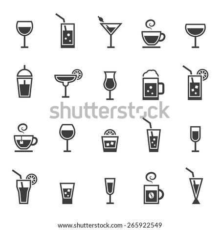 Drinks icons set. - stock vector
