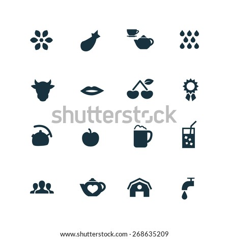 drinks icons set on white background  - stock vector