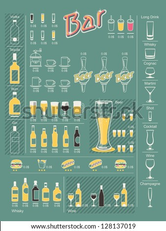 drinks info graphic elements,vector set - stock vector
