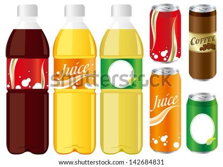 drinks juice cans pet bottle Set Vector - stock vector