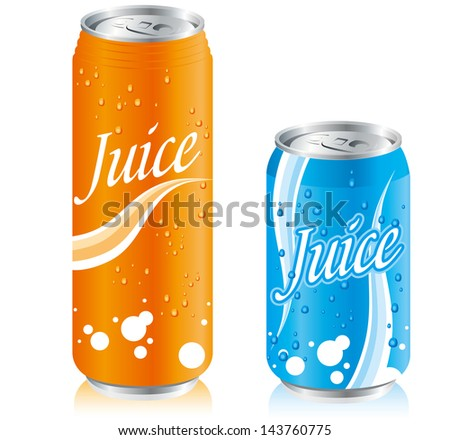 drinks juice cans pet bottle Set Vector - stock vector