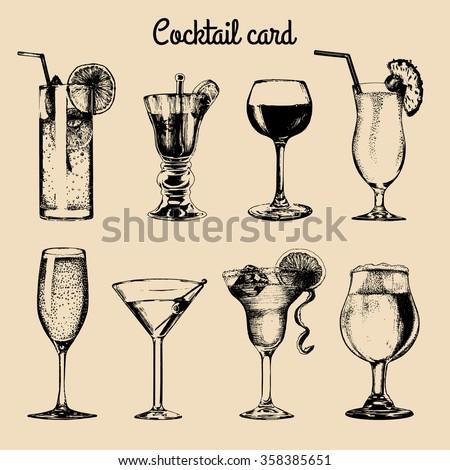 Drinks menu. Cocktails sketch. Hand sketched drinks. Vector set of alcoholic drinks and cocktails. Cocktails illustrations set. Hand drawn Cocktails drinks, cocktail glasses. Cocktail card. - stock vector
