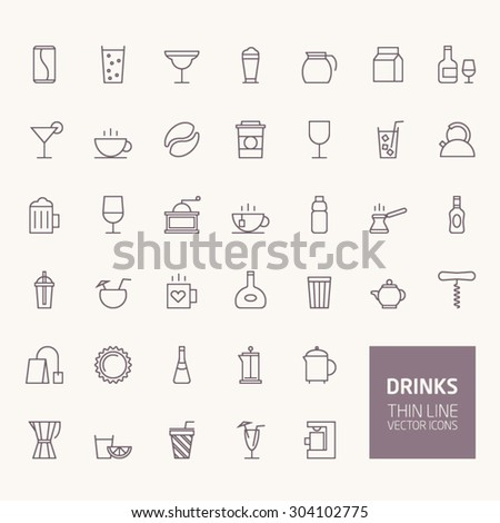 Drinks Outline Icons for web and mobile apps - stock vector