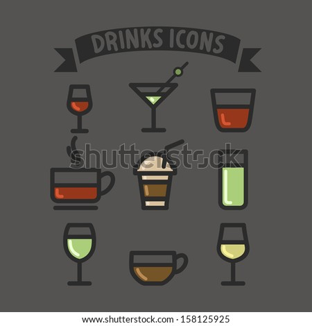 drinks set icons colorful flat design - stock vector