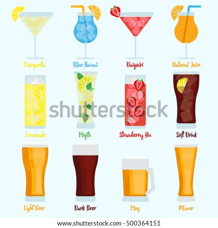 Drinks set with different beers, cocktails and soft drinks vectors