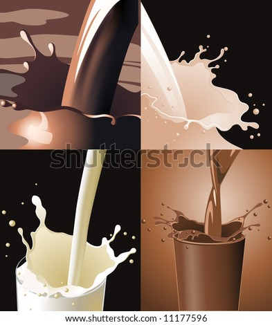 Drinks splash, four pictures, vector illustration, EPS file included - stock vector