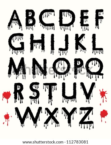 Dripping blood alphabet with splattered blood stains