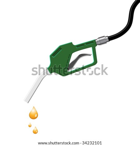 Dripping gas pump nozzle isolated over white