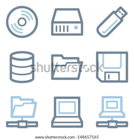 Drive and storage icons, blue line contour series - stock vector
