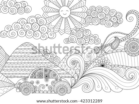 Drive Around Clean Lines Doodle Design For Coloring Book Adult