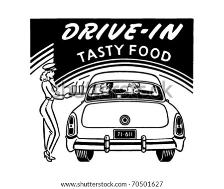 Drive-In Tasty Food - Retro Ad Art - Banner - stock vector