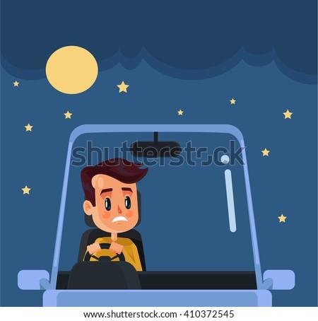 Driver at nights. Vector flat cartoon illustration - stock vector