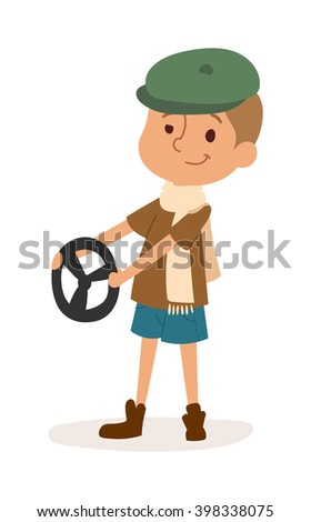 Driver boy with rider and driver funny cartoon boy. Profession driver automobile kid, fun road wheel driving childhood driver boy. Driver boy with car rudder cute cartoon vector profession character. - stock vector