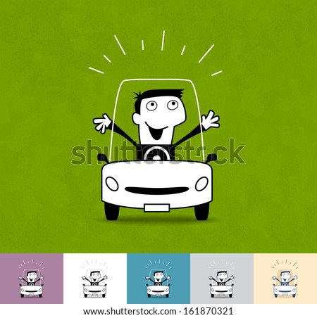 Driver. Business cartoon illustration (EPS 10). Animation friendly: the elements ( arms, heads etc) are in the separate layers. Seamless pattern on the background (color can be changed). - stock vector