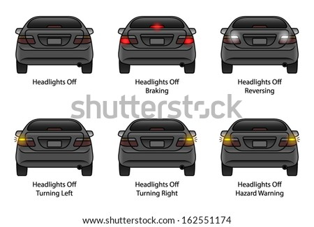 driver education car rear indicators headlights stock vector 162551174 shutterstock. Black Bedroom Furniture Sets. Home Design Ideas
