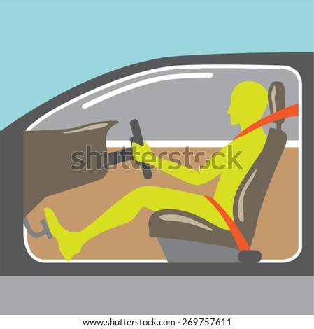 Driver in the car seat belt - stock vector