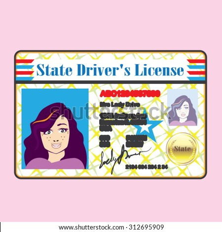 Driver's License Woman photo ID vector - stock vector
