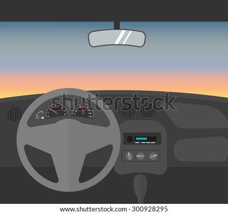 Driving car at dusk, car interior, vector illustration - stock vector