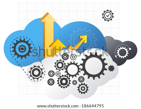 Driving Cloud Technology - Illustration - stock vector