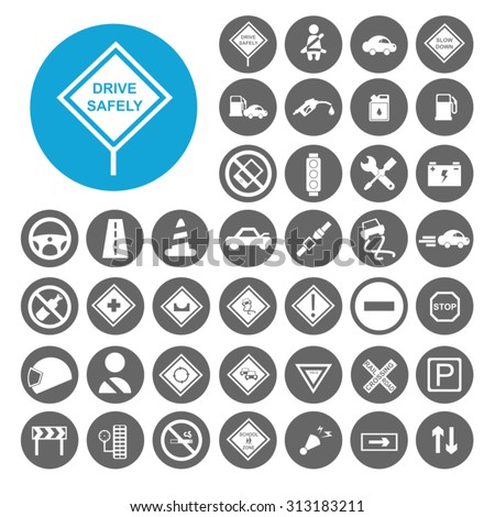 Driving Safety icons set. Illustration EPS10 - stock vector