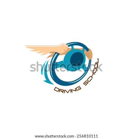 Driving school logo. Steering wheel with winged hands composition sign. - stock vector