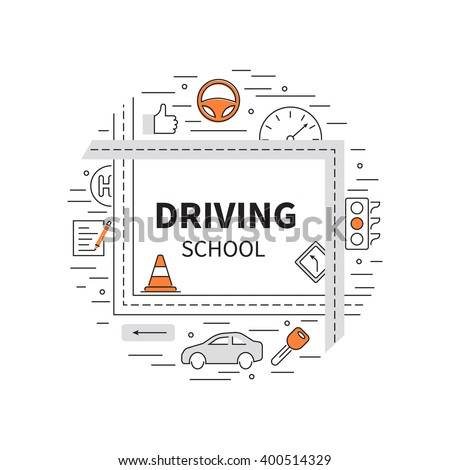 Driving school logo template with auto, education, road symbols. Modern line style.  - stock vector