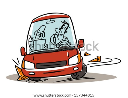 driving school test failure. cartoon illustration isolated on white - stock vector