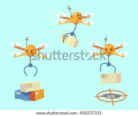 Drone delivery. Vector illustration. - stock vector