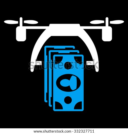 Drone Payment vector icon. Style is bicolor flat symbol, blue and white colors, rounded angles, black background. - stock vector