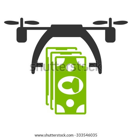 Drone Payment vector icon. Style is bicolor flat symbol, eco green and gray colors, rounded angles, white background. - stock vector