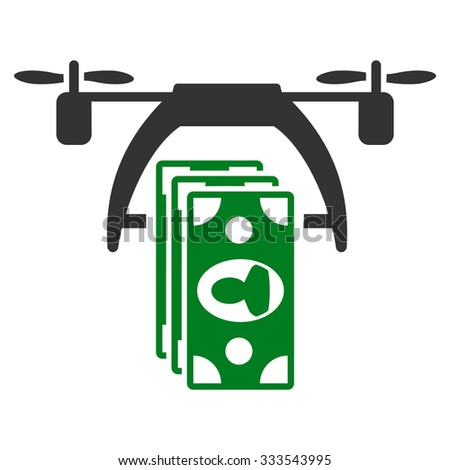 Drone Payment vector icon. Style is bicolor flat symbol, green and gray colors, rounded angles, white background. - stock vector