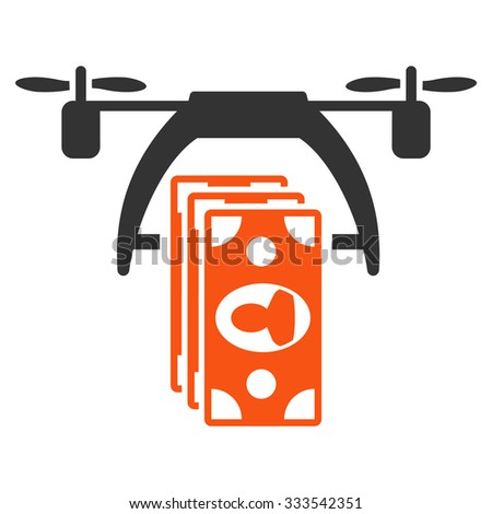 Drone Payment vector icon. Style is bicolor flat symbol, orange and gray colors, rounded angles, white background. - stock vector