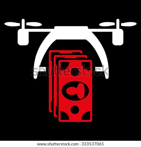 Drone Payment vector icon. Style is bicolor flat symbol, red and white colors, rounded angles, black background. - stock vector