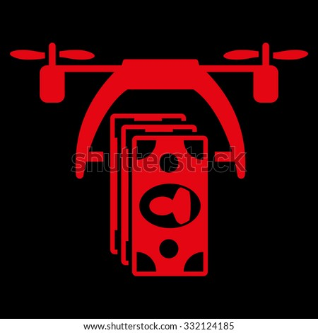 Drone Payment vector icon. Style is flat symbol, red color, rounded angles, black background. - stock vector