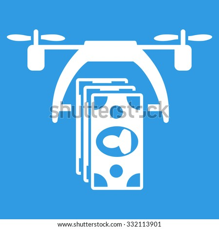 Drone Payment vector icon. Style is flat symbol, white color, rounded angles, blue background. - stock vector